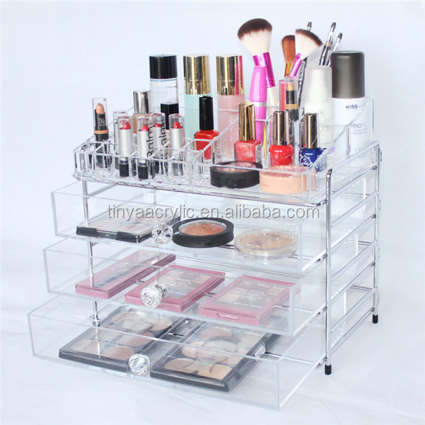 Upper Compartments 3 Drawers Cosmetic Storage With Crystal Knobs,Custom Hot Selling Clear Acrylic Makeup Organizer With Drawers