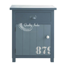 Chevet Antique Style Grey Color One Door One Drawer Cabinet