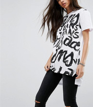 enlongated front print ladi top latest design in white with stepped hem