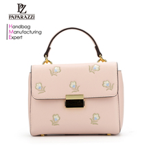 7405- Latest Design women satchels PU leather fashion embroidery Flower Decor Lady handbags 2017