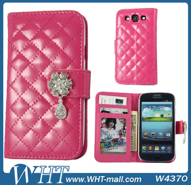 New Design for Samsung Galaxy S3 Leather Case Luxury Purse Nice Diamond Flip Case Cover for Galaxy S3