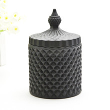 Wholesale glass candle holder black glass candle jar with lid for sale