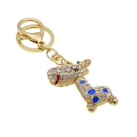 Custom key holder deer shaped Rhinestone key chain Metal Key Ring Purse Charm wholesale