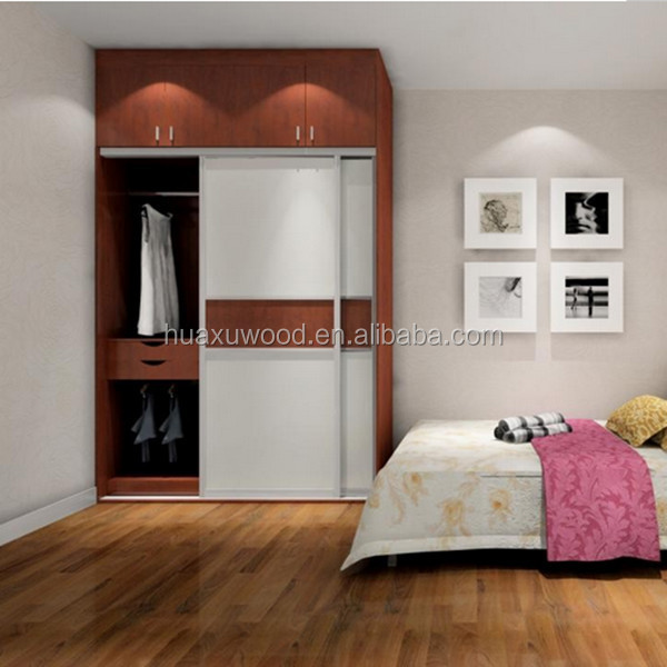 HXZW-51  wooden 2 door wooden wall mounted wardrobe sliding  wardrobe