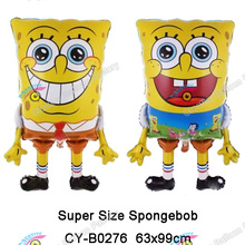 The Latest Design Big Size Spongebob Shape Foil Balloon Two sides printed