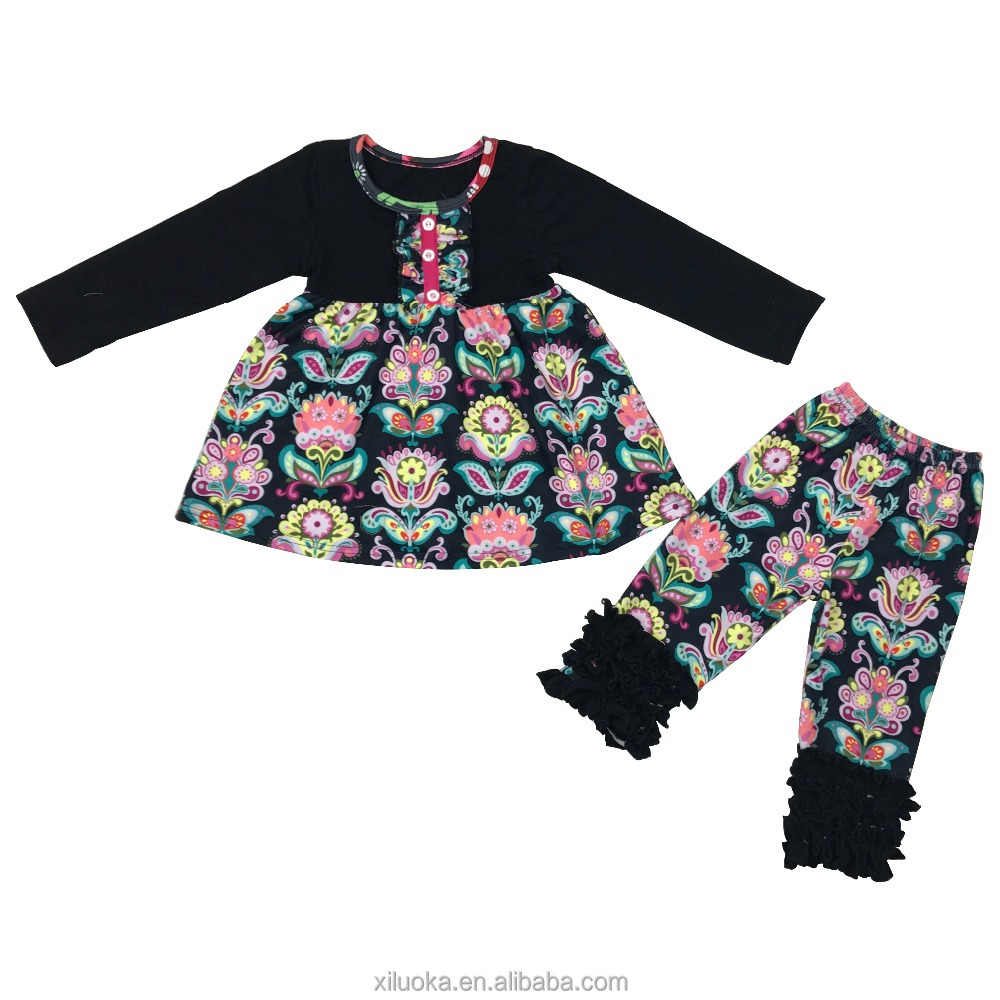 Factory Direct Selling Floral Children Clothes Girls Wholesale Boutique Clothing