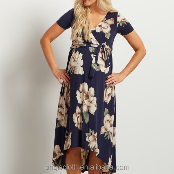 Navy Floral Hi-Low Midi Maternity/Nursing Wrap Dress
