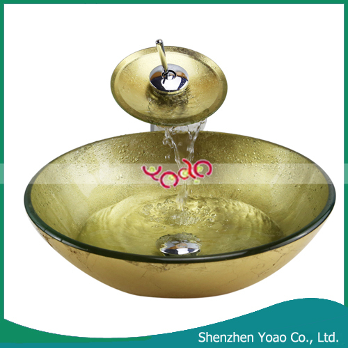 Golden Vessel Sink Glass Wash Basin with Waterfall Faucet