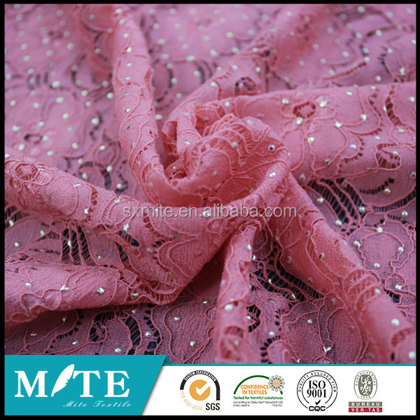 Good quality applique embroidery tulle lace fabric with stones and beads