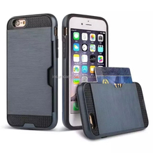 For iphone 6 protection case, double Layer TPU+PC combo card slots mobile phone case for iphone 6
