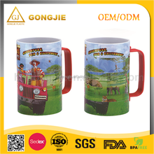 Children carton puzzle plastic mug/cup water cup with handle