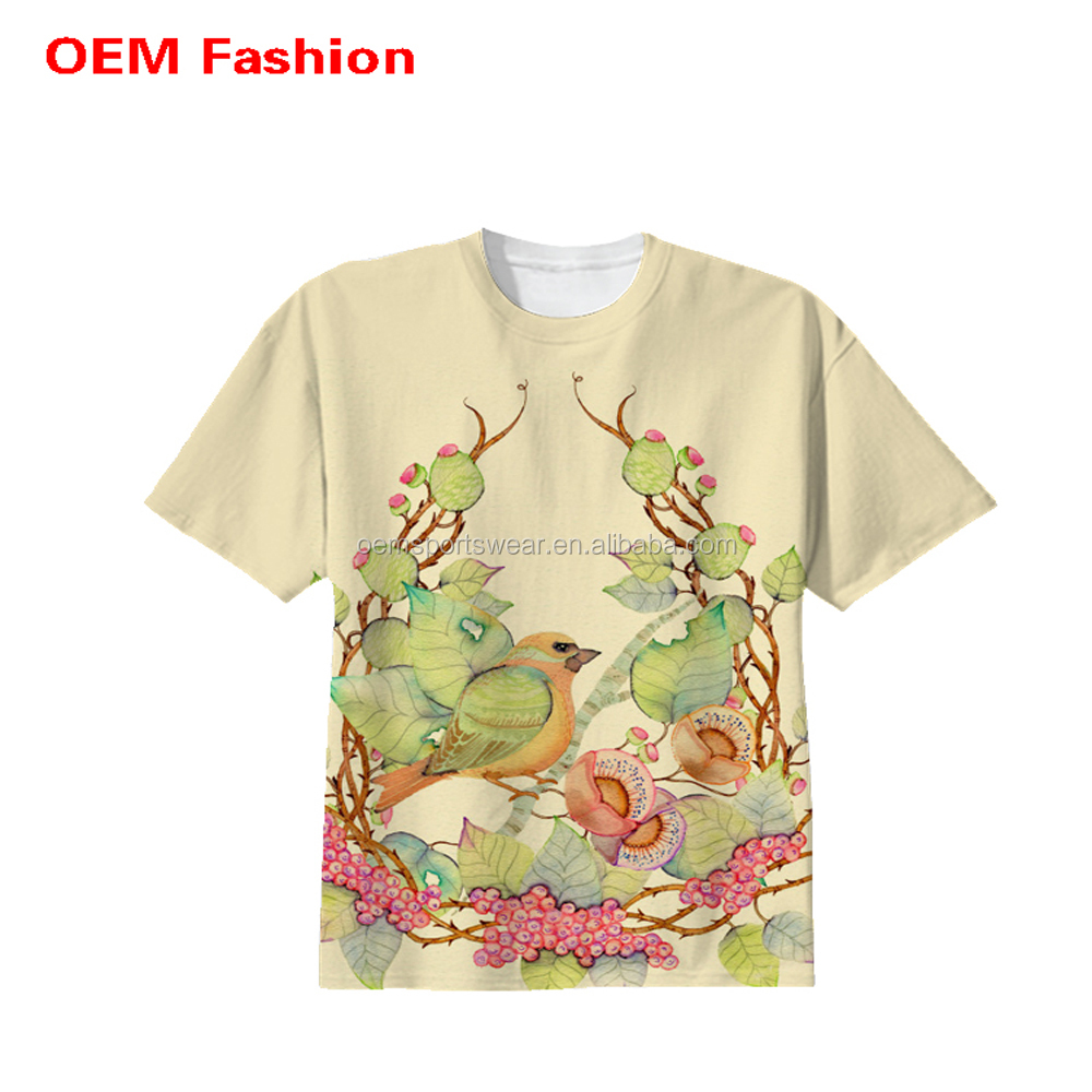Flower design print custom made t shirts sample