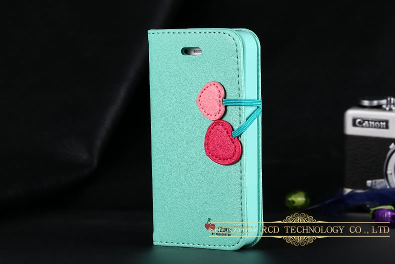 New Arrival Flip Wallet Cherry Heart Lichee Grain TPU Case for iPhone 5 5S 4 4S 5C 5G Magnetic Cover Stand Card RCD00292