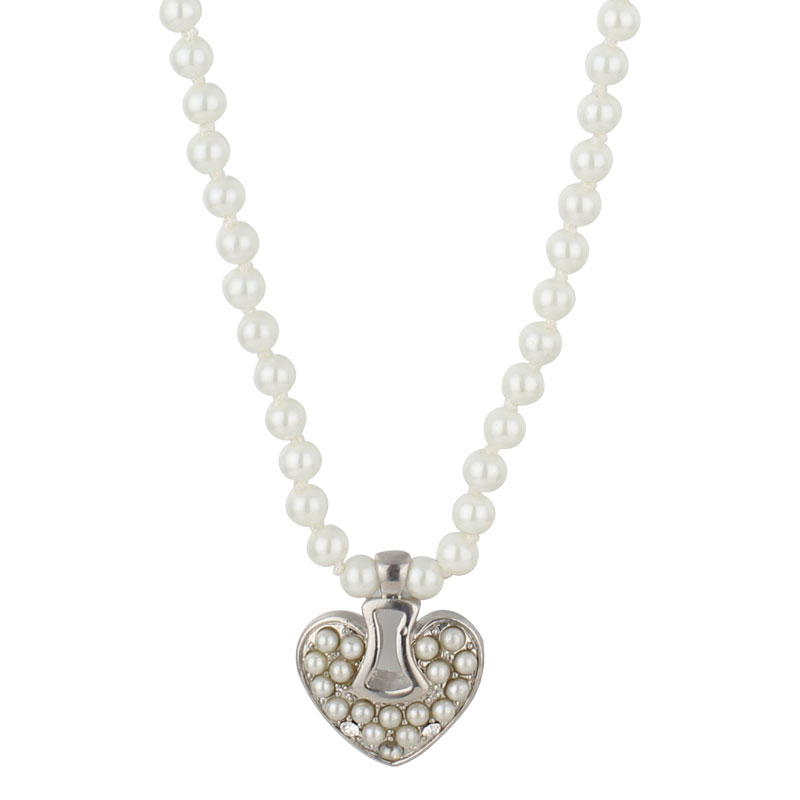 Love heart pendant necklace faux pearl low price for sale