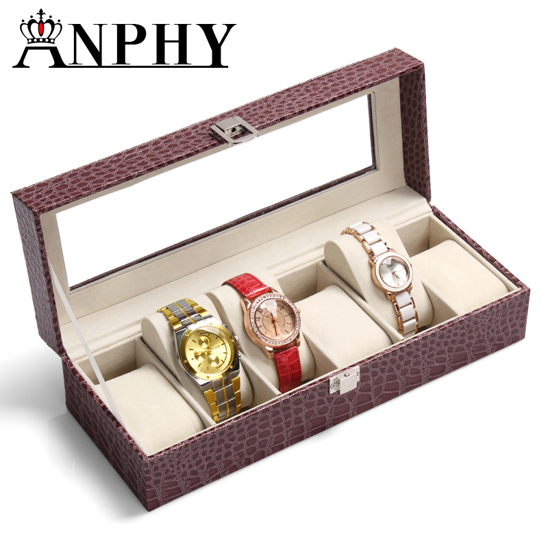 ANPHY <strong>C100</strong>-1 High quality coffee 6 grids PU leather watch storage box with glass lid