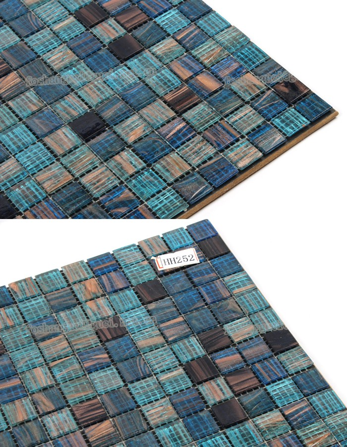 China supply bule Hot melt gold thread mosaic tile for swimming pool wall