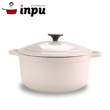 Easily cleaned enamel coating cast iron stock pot 4.2QT