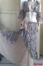 fashion leopard print long skirt belly dance with bra tops (XF-044)