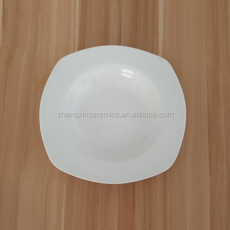 Hot sale square white dinner plates porcelain tableware with low price for hotel and home use