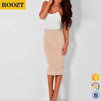 Wholesale Lady Sexy Bodycon Stretch Dress with Chain Straps Midi Evening Party Dresses