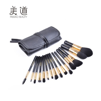 Meidao Superior quality wood handle 15 pcs make up brush makeup brush set with cosmetic bag