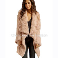 CX-G-A-215A Women's Genuine Knitted Rabbit Fur Jackets