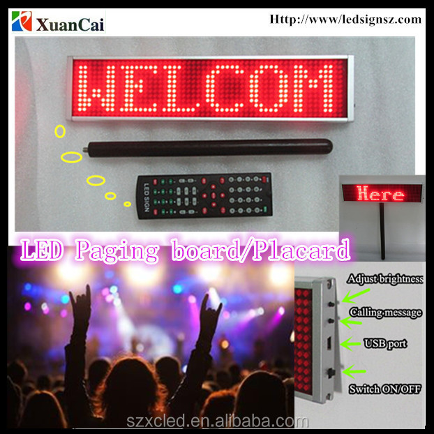 P5-12x56 Rechargeable hand-hold LED message Paging board/Placard display