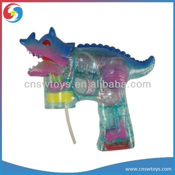 Hotsale B/O Trasparent Light up Dinosaur Bubble Gun Toys With Light and Music