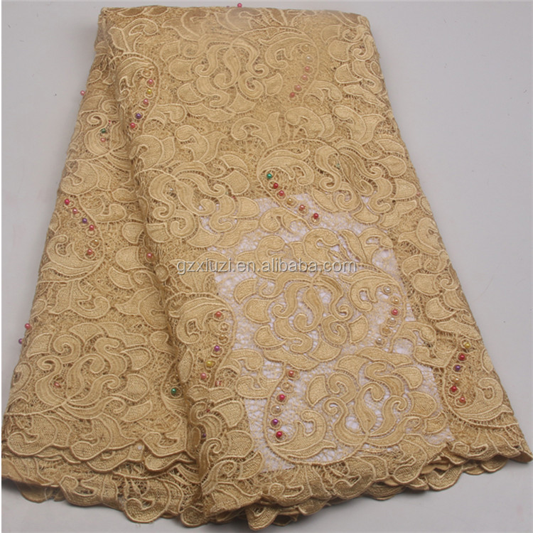 High Quality Fashion Heavy Gold African Beads Guipure Embroidery Cord Lace Fabric