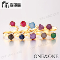 2015 New Design Ladies Finger Ring Wholesale Agate Druzy Rings Round Triangle Triangle Fashion Jewelry Stones