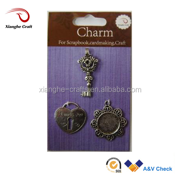 Key and lock metal charm key chain charms pendants
