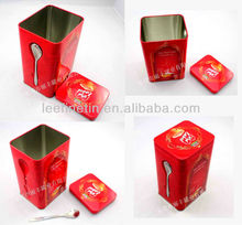 airtight rectangular coffee tin with metal spoon