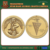 Custom souvenir metal zinc alloy pure gold coin