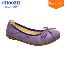 Wholesale Exclusive European Flossy Girls Leather Ballerina Shoes