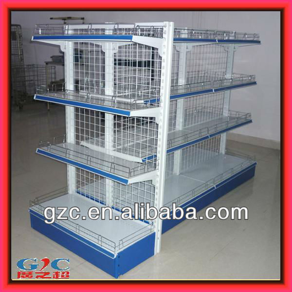 supermarket or retail store single side back plate rack display