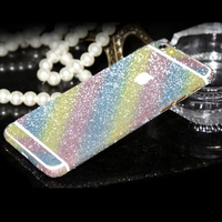 Color Rainbow Phone Sticker,Full Set Glitter Skin Cover for iPhone 6 Plus and you can choose open the logo outside or not