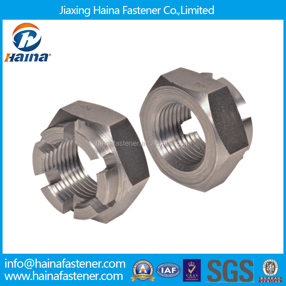 Chinese Supplier DIN979 Stainless Steel Hexagon thin slotted nuts and castle nuts with metric coarse and fine pitch thread