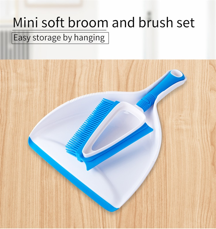 Mr.SIGA Short Rubber Handle Brush Small Floor Brush And Dustpan