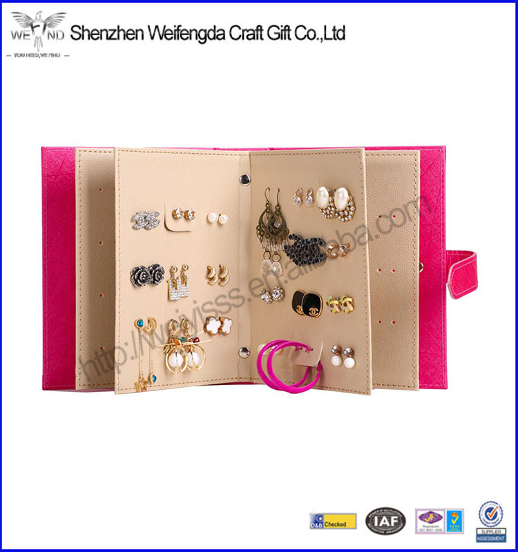 Portable Pu Leather Earring Holder Organizer Jewelry Display Case with Foldable Book Design