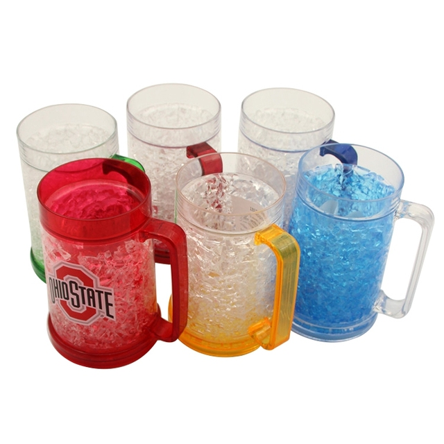 Cheap beer mug Frosted cup Ice cup maker, Plastic double wall freezer beer mug, Freezing beer mug plastic