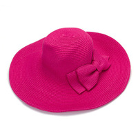 Crazy large brim plain color bohemian style straw hat with double bowknot