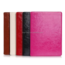 Real leather Crazy Horse Lines Full Body Leather pc Case with Card Slot and Stand for iPad Air 2