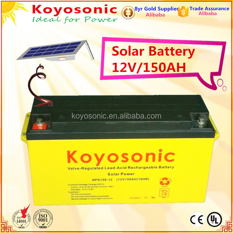 Hot!!! 12v 150AH Sealed MF VRLA GEL Lead Acid Batteries Solar energy storage PV battery with Reliable Quality