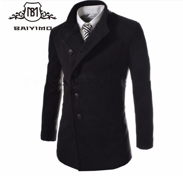 2017 Good Quality Winter Jackets Hot Sale Men's Wool Winter Trench Coat Outwear Overcoat Long Black And Gray Slim Fit For Man