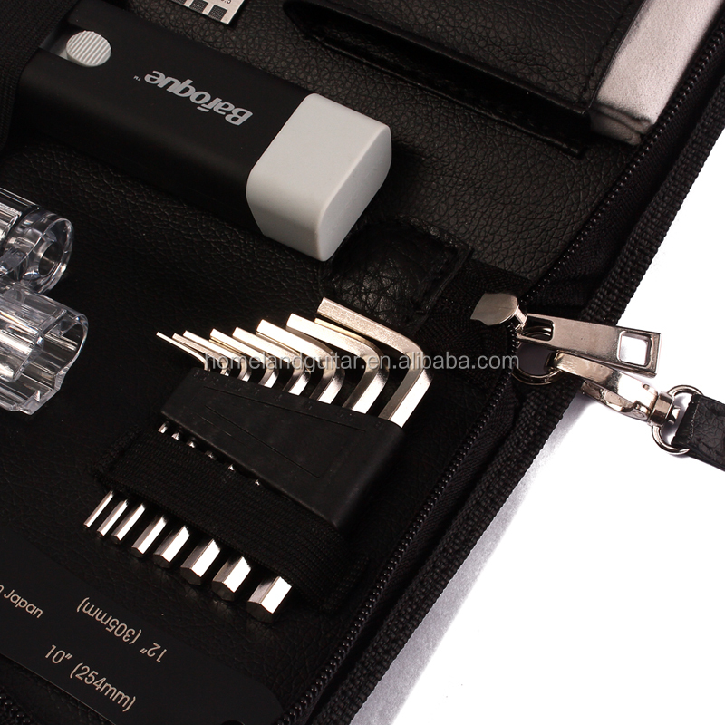 Guitar Luthier Repair Tools Kit Set with Files Stainless Steel Ruler Winder String Action Gauge Strings Polish