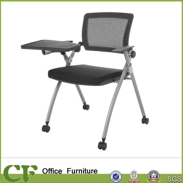 Movable folding chair with writing board