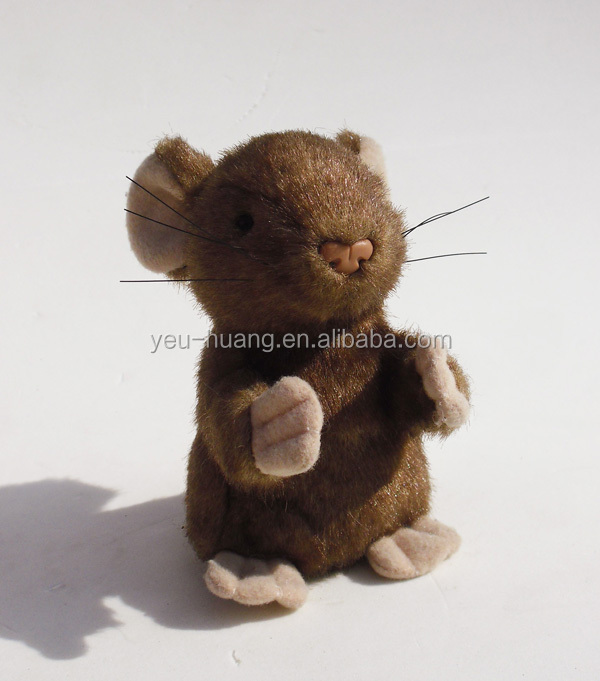 Realistic faux fur mouse plush stuffed animal toy