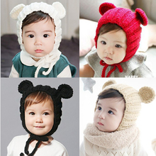 wholesale Fashion Cute animal beanie hat winter baby outdoor warm hand knitted baby winter hat