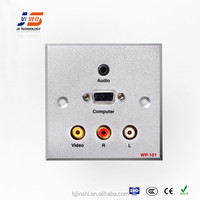 JS-WP101 RCA+VGA+3.5mm AudioAluminum Wall panel Socket