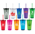 Transparent cups with lid & straw double wall plastic cups with lid
